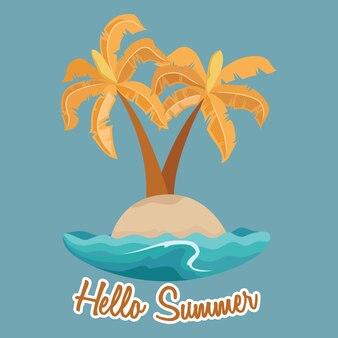 Ciao illustrazione estate con albero di cocco sulla piccola isola