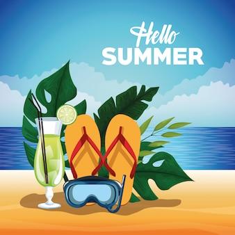 Ciao illustrazione estate con elementi di cartone animato