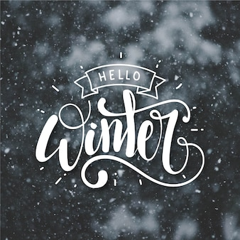 Ciao lettering concetto invernale
