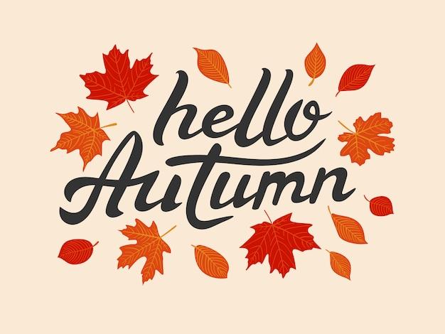Ciao lettering disegnato a mano autunno con foglie
