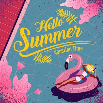 Ciao lettering estate con illustrazione. ferie