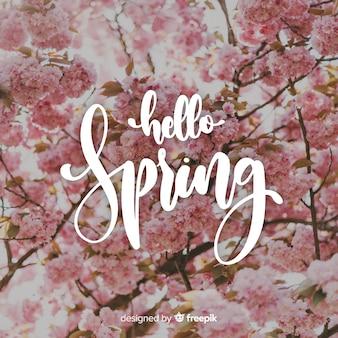 Ciao lettering primavera con foto