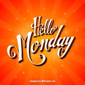 Ciao lunedì, sfondo arancione