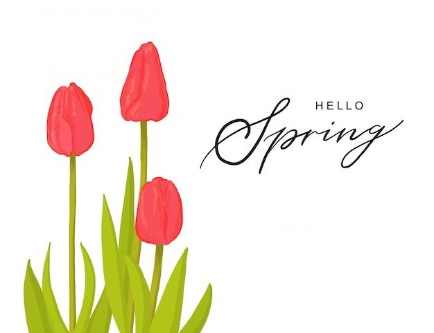 Ciao manifesto di iscrizione disegnato a mano di tipografia della molla con la decorazione disegnata a mano del fiore dei tulipani.