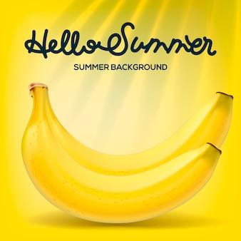 Ciao manifesto estivo con banane su sfondo giallo, illustrazione.