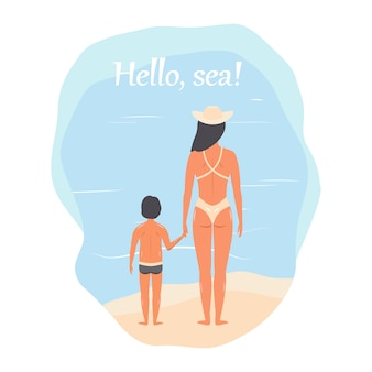 Ciao mare! persone in abiti da spiaggia: madre e figlio, donna con un bambino. vettore