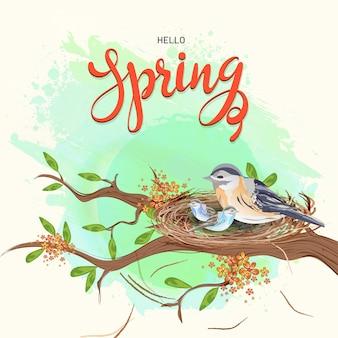 Ciao modello di primavera o progettazione di biglietti di auguri
