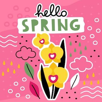 Ciao modello disegnato a mano di primavera con collage di fiori.