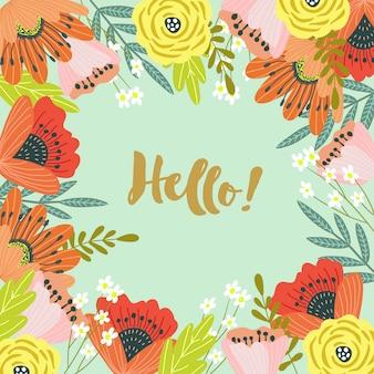 Ciao. modello per carte e striscioni con simpatici fiori scarabocchi con testo,