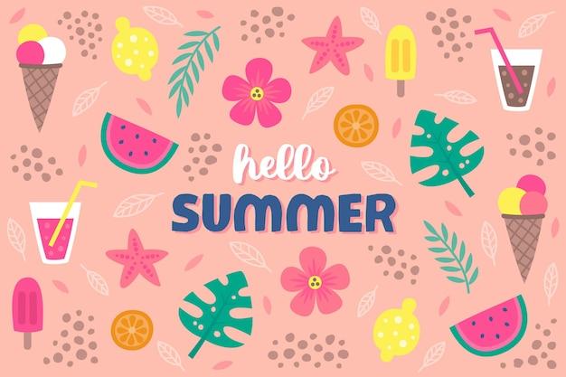Ciao oggetti estate sfondo disegnato a mano