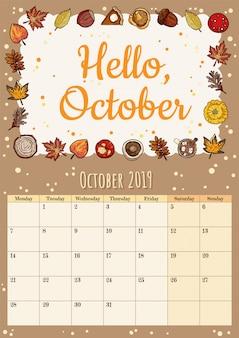 Ciao ottobre simpatico pianificatore di calendario mese hygge 2019 accogliente con decorazioni autunnali