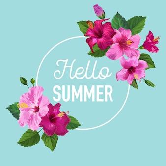 Ciao poster estivo. disegno floreale con fiori di ibisco viola per t-shirt