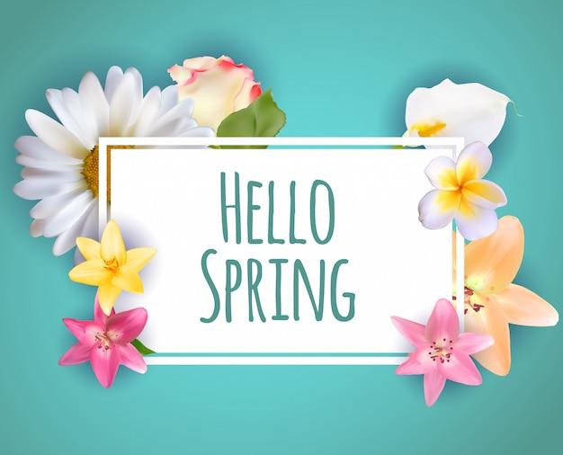 Ciao primavera banner saluti design sfondo con elementi di fiori colorati.