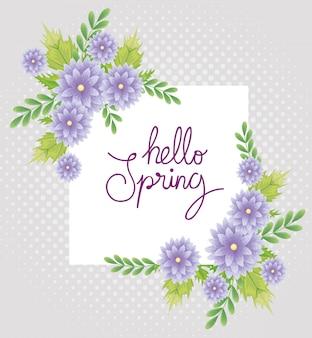 Ciao primavera con decorazione di fiori e foglie