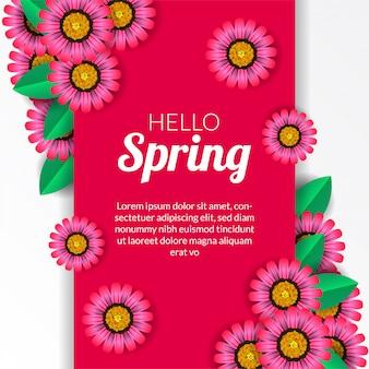 Ciao primavera con fiore fiore rosa