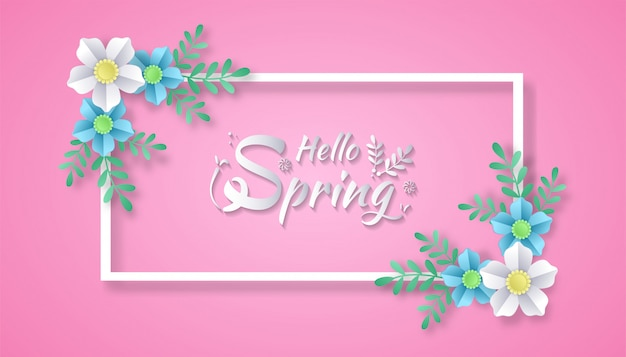 Ciao primavera con fiori e foglie di carta tagliata in stile art