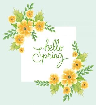 Ciao primavera con fiori e foglie