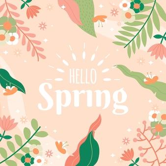 Ciao primavera con foglie colorate