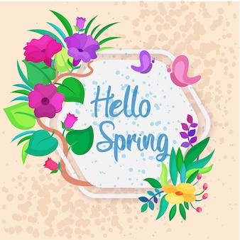 Ciao primavera con sfondo di fiori