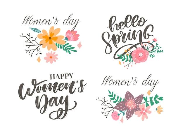 Ciao primavera e giorno delle donne fiori scritte di testo