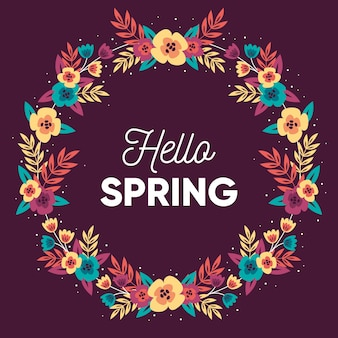 Ciao primavera in design piatto con ghirlanda di fiori