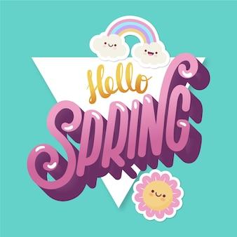 Ciao primavera lettering con arcobaleno