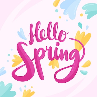 Ciao primavera lettering con decorazioni colorate