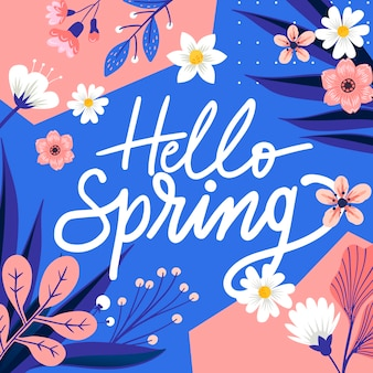 Ciao primavera lettering con decorazioni colorate