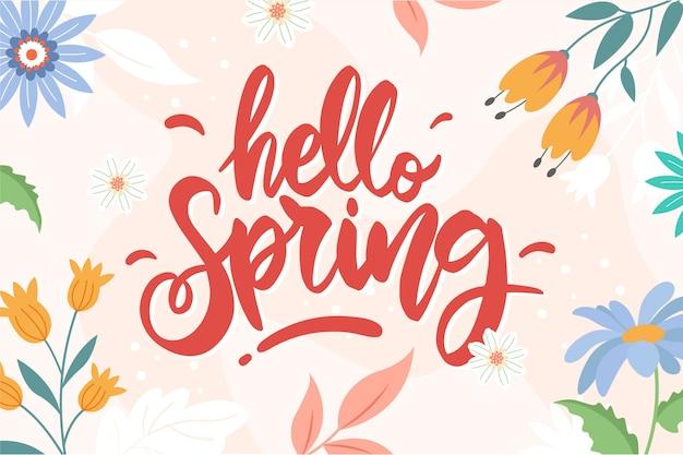 Ciao primavera lettering con decorazioni