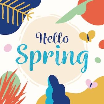 Ciao primavera lettering con elementi colorati disegnati
