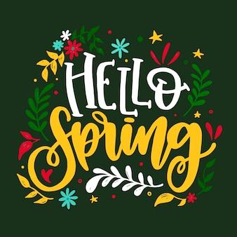 Ciao primavera lettering con foglie