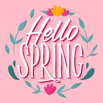 Ciao primavera lettering con ghirlanda di fiori