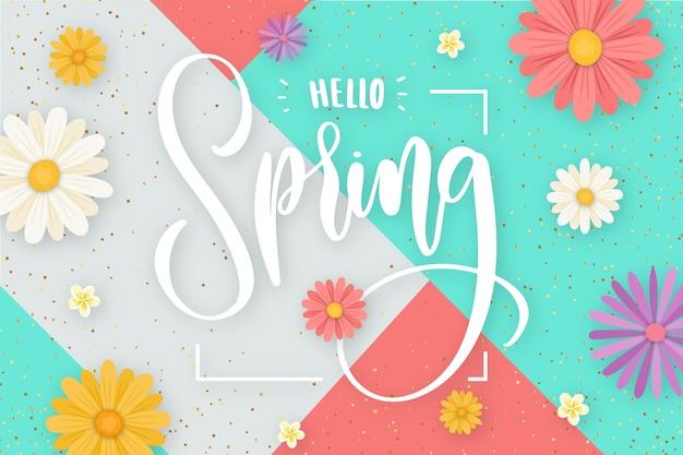 Ciao primavera lettering con il concetto di decorazione
