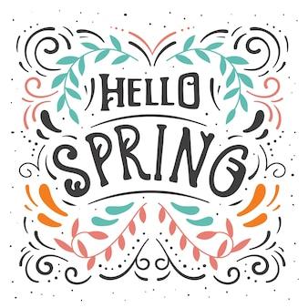 Ciao primavera lettering con linee ondulate