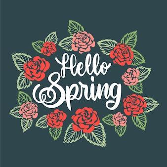 Ciao primavera lettering concetto