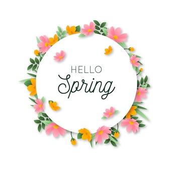 Ciao primavera lettering design con cornice floreale circolare