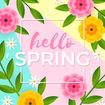 Ciao primavera lettering design con fiori piatti