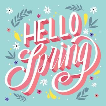 Ciao primavera lettering design con foglie