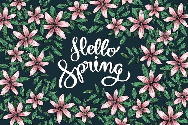 Ciao primavera lettering saluto con campo di fiori