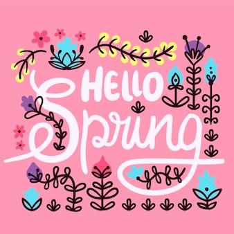 Ciao primavera lettering sfondo