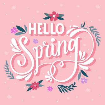 Ciao primavera lettering su sfondo rosa