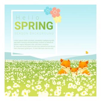 Ciao primavera paesaggio sfondo con la famiglia della volpe