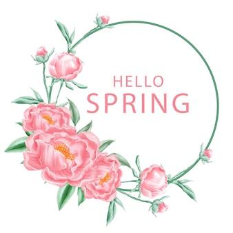 Ciao primavera peonia corona cornice di sfondo