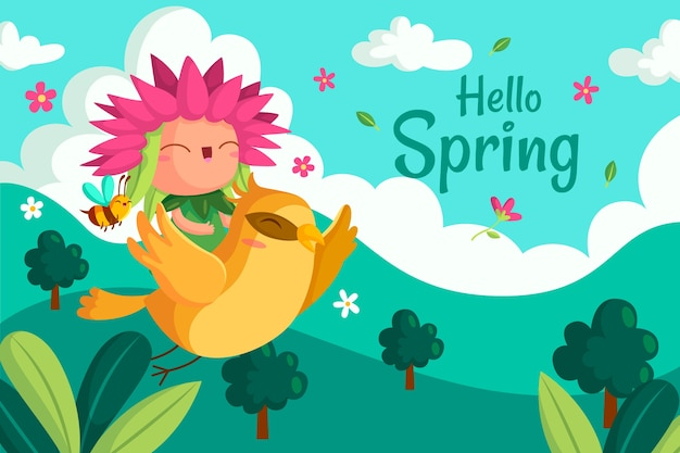 Ciao primavera sfondo carino
