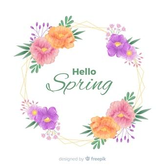 Ciao primavera sfondo con fiori disegnati a mano