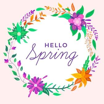 Ciao primavera sfondo con fiori