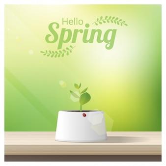 Ciao primavera sfondo con giovane germoglio