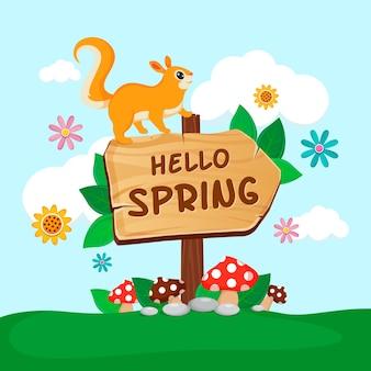Ciao primavera sfondo con scoiattolo