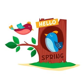 Ciao primavera sfondo con uccelli