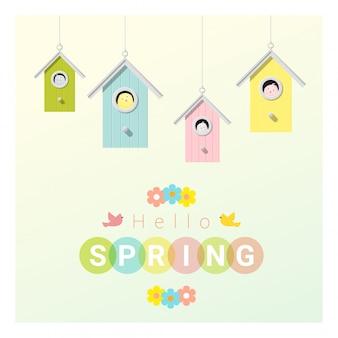 Ciao primavera sfondo con uccellini in birdhouses